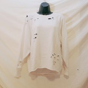 AERIE White Allie Rae Destroyed Sweatshirt, XS